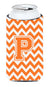 Letter P Chevron Orange and White Tall Boy Beverage Insulator Hugger CJ1046-PTBC by Caroline's Treasures