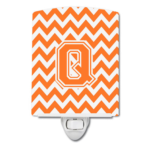 Buy this Letter Q Chevron Orange and White Ceramic Night Light CJ1046-QCNL