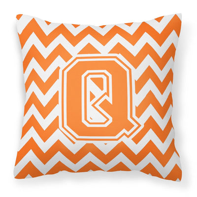Buy this Letter Q Chevron Orange and White Fabric Decorative Pillow CJ1046-QPW1414