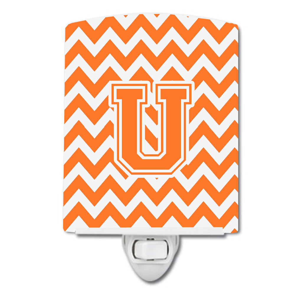 Buy this Letter U Chevron Orange and White Ceramic Night Light CJ1046-UCNL