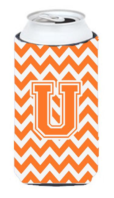 Buy this Letter U Chevron  Orange and White Tall Boy Beverage Insulator Hugger CJ1046-UTBC