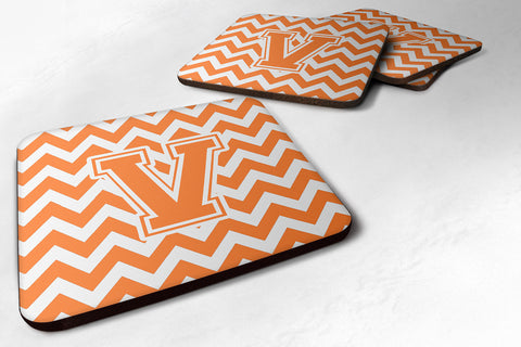 Buy this Letter V Chevron Orange and White Foam Coaster Set of 4 CJ1046-VFC