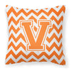 Letter V Chevron Orange and White Fabric Decorative Pillow CJ1046-VPW1414 by Caroline's Treasures