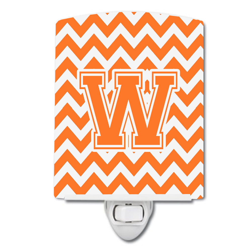 Buy this Letter W Chevron Orange and White Ceramic Night Light CJ1046-WCNL