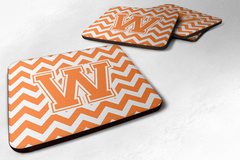 Buy this Letter W Chevron Orange and White Foam Coaster Set of 4 CJ1046-WFC