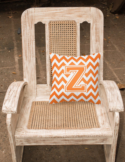 Letter Z Chevron Orange and White Fabric Decorative Pillow CJ1046-ZPW1414