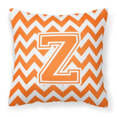 Buy this Letter Z Chevron Orange and White Fabric Decorative Pillow CJ1046-ZPW1414