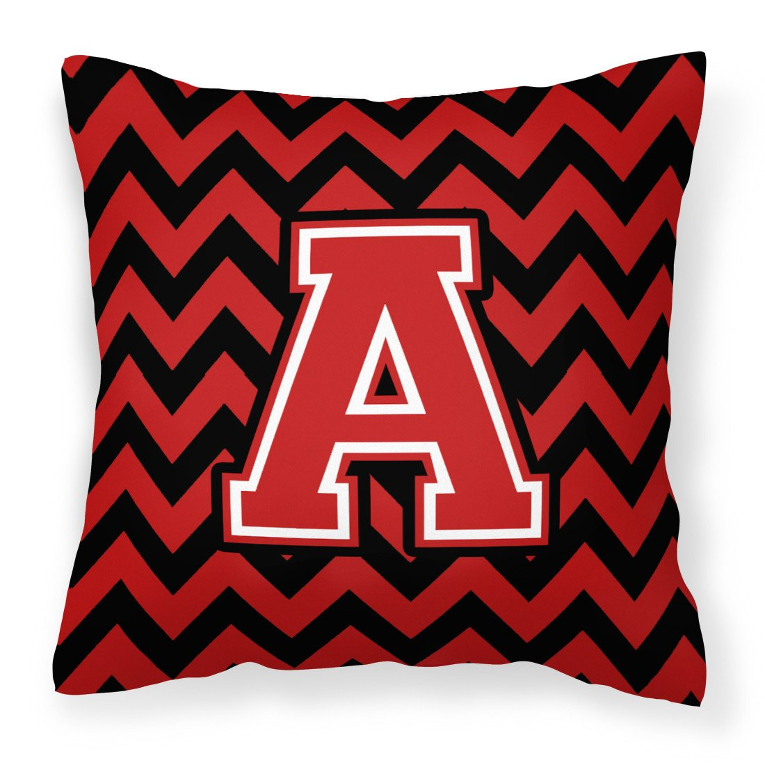 Letter A Chevron Black and Red   Fabric Decorative Pillow CJ1047-APW1414 by Caroline's Treasures
