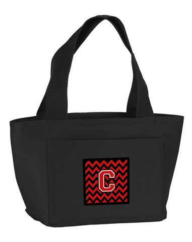 Buy this Letter C Chevron Black and Red   Lunch Bag CJ1047-CBK-8808