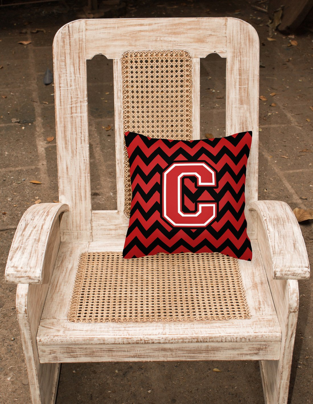 Letter C Chevron Black and Red   Fabric Decorative Pillow CJ1047-CPW1414 by Caroline's Treasures