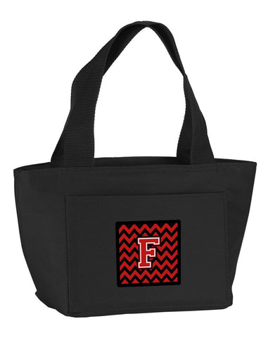 Buy this Letter F Chevron Black and Red   Lunch Bag CJ1047-FBK-8808