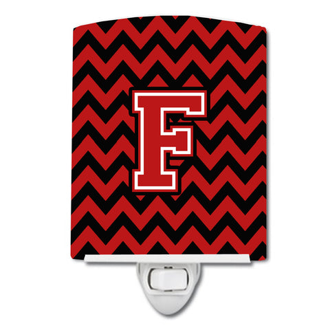 Buy this Letter F Chevron Black and Red   Ceramic Night Light CJ1047-FCNL