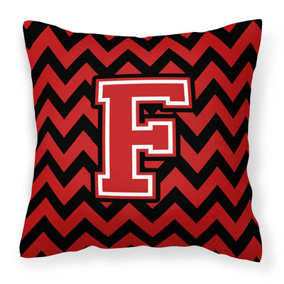 Buy this Letter F Chevron Black and Red   Fabric Decorative Pillow CJ1047-FPW1414