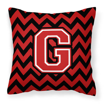 Buy this Letter G Chevron Black and Red   Fabric Decorative Pillow CJ1047-GPW1414