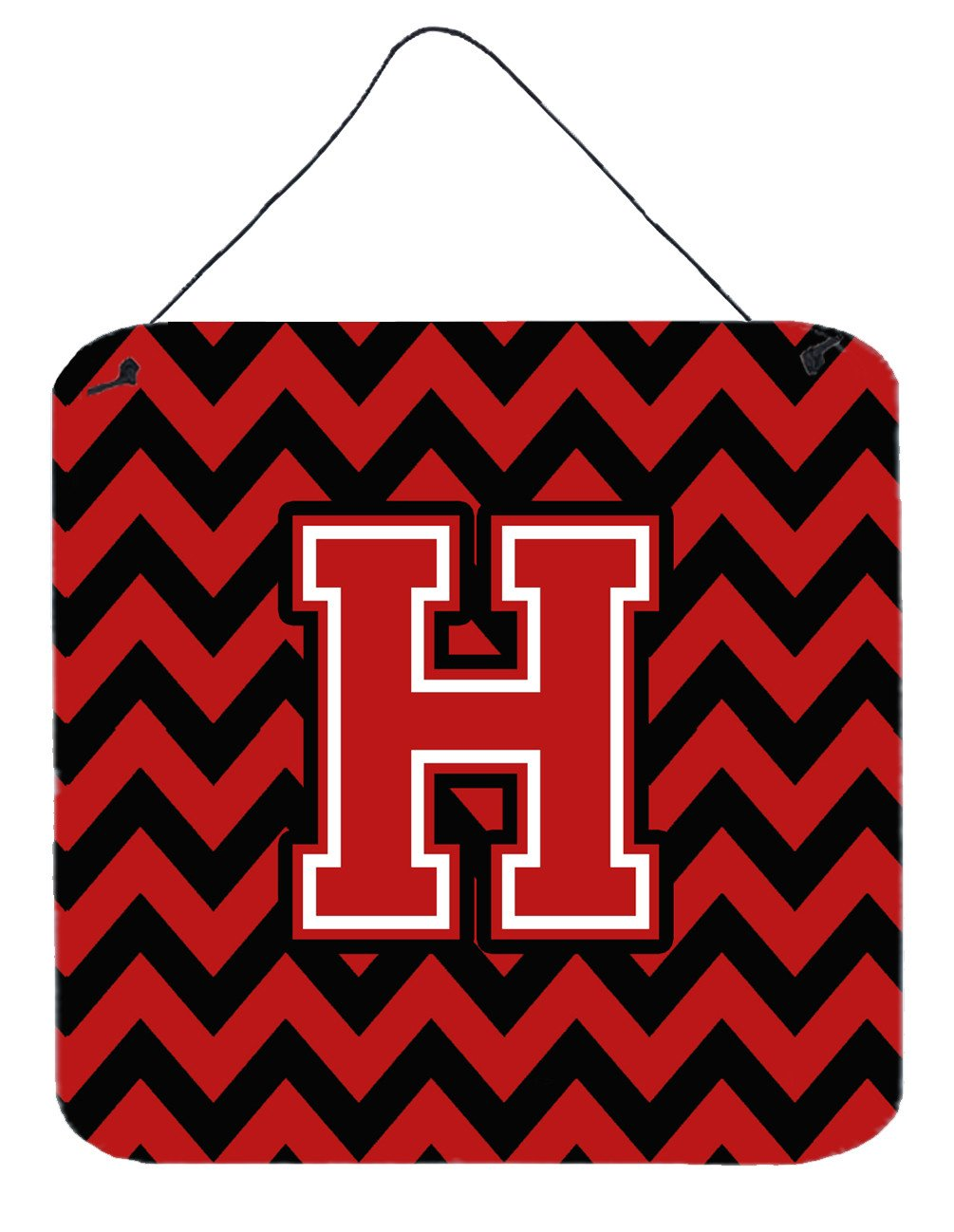 Letter H Chevron Black and Red   Wall or Door Hanging Prints CJ1047-HDS66 by Caroline's Treasures