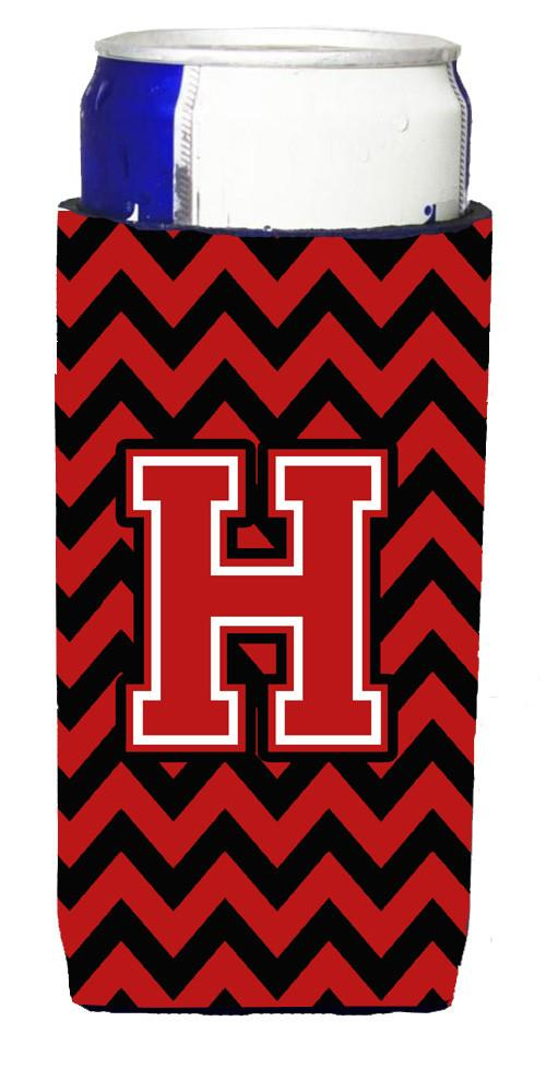 Letter H Chevron Black and Red   Ultra Beverage Insulators for slim cans CJ1047-HMUK by Caroline's Treasures