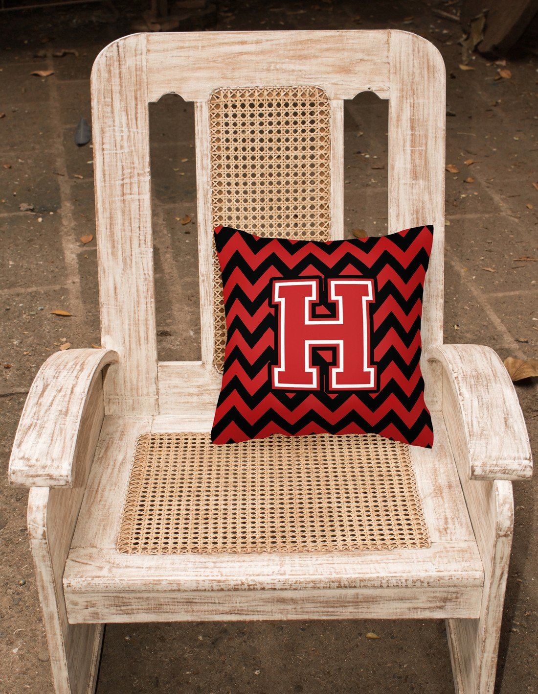 Letter H Chevron Black and Red   Fabric Decorative Pillow CJ1047-HPW1414 by Caroline's Treasures
