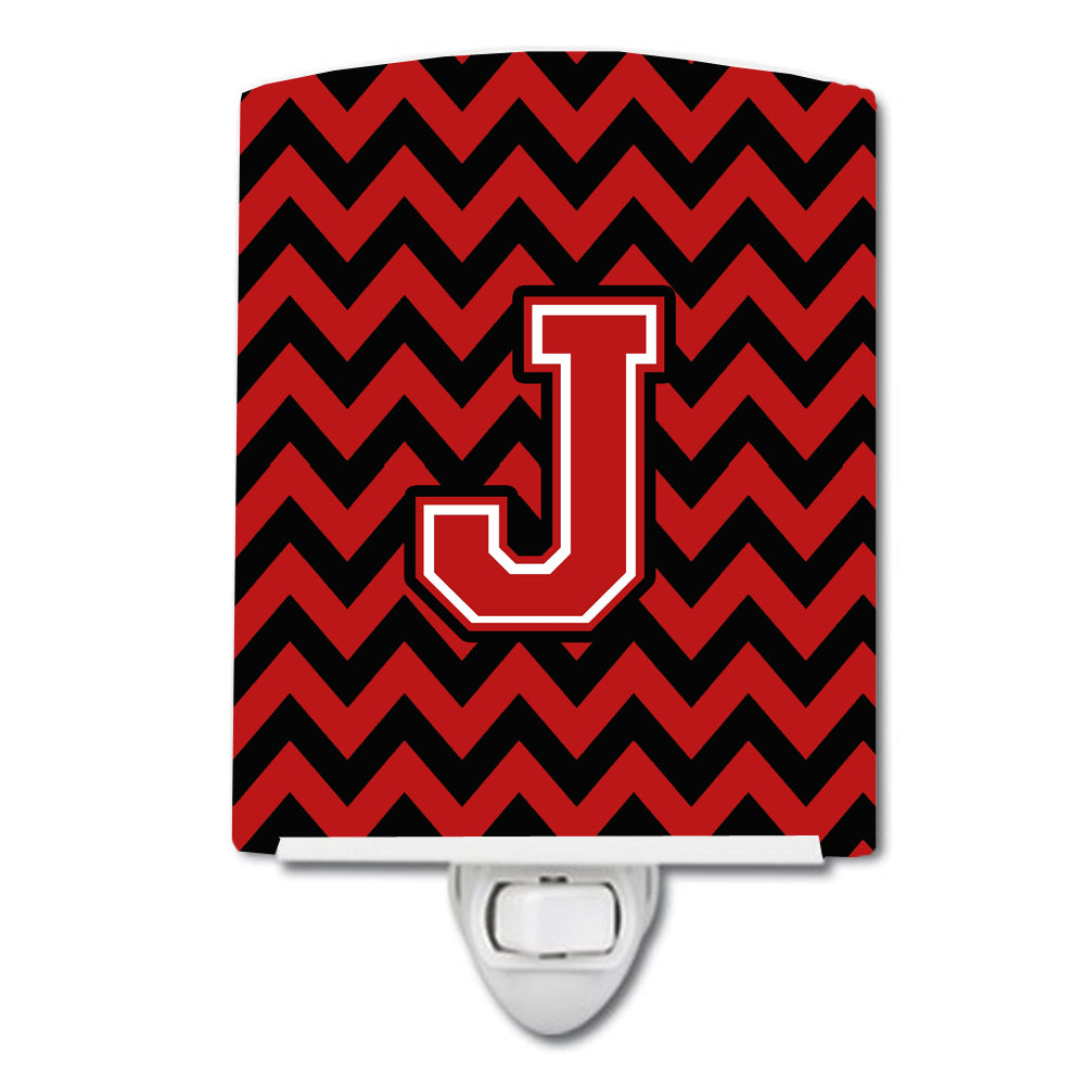 Letter J Chevron Black and Red   Ceramic Night Light CJ1047-JCNL by Caroline's Treasures