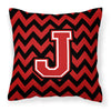 Letter J Chevron Black and Red   Fabric Decorative Pillow CJ1047-JPW1414 by Caroline's Treasures