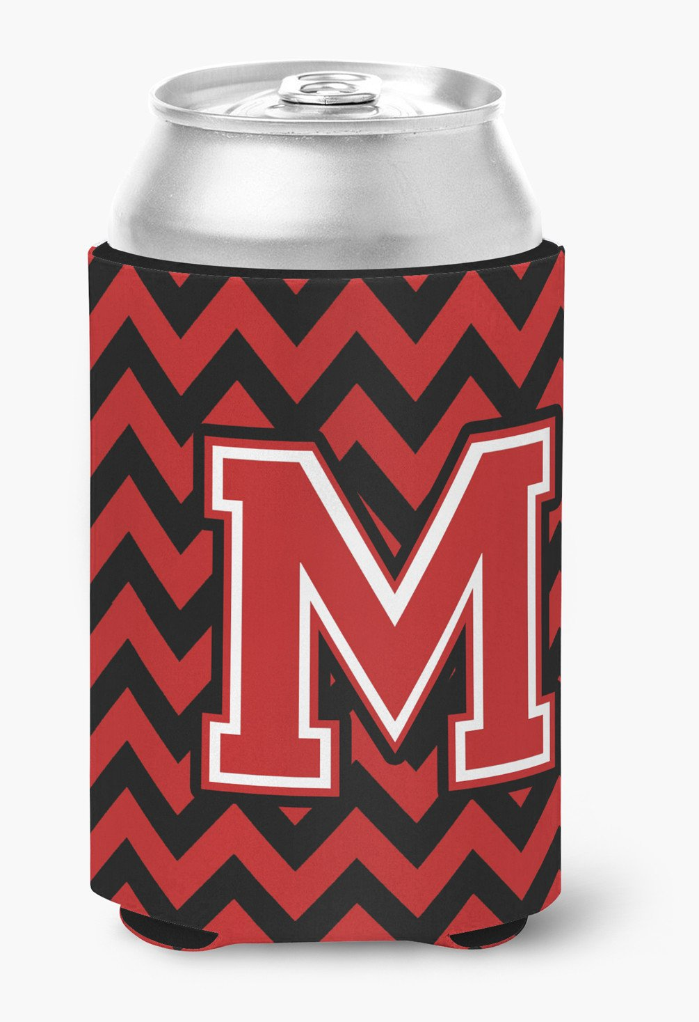 Letter M Chevron Black and Red   Can or Bottle Hugger CJ1047-MCC by Caroline's Treasures