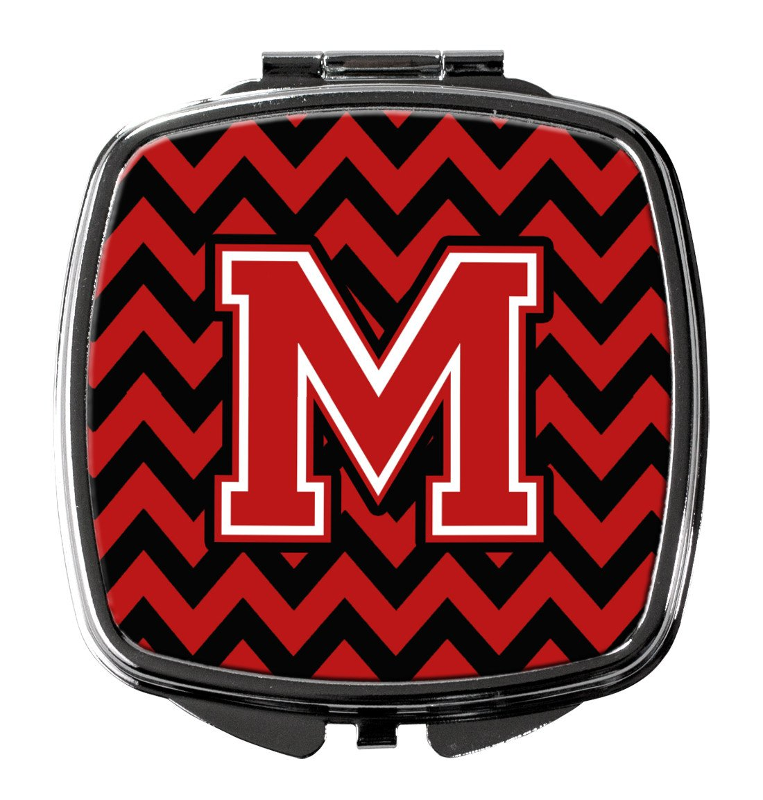Letter M Chevron Black and Red   Compact Mirror CJ1047-MSCM by Caroline's Treasures