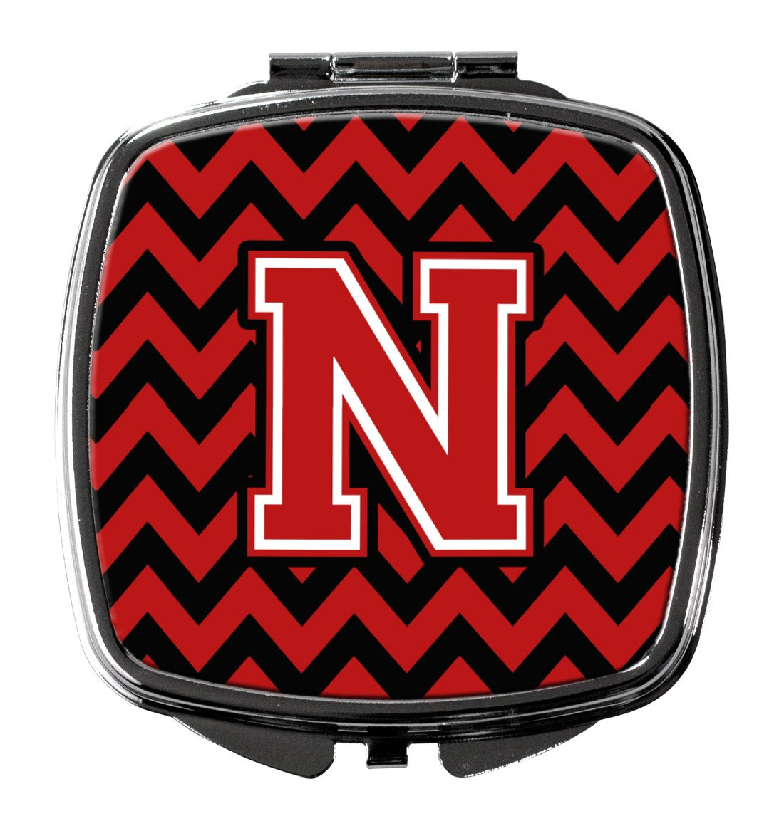 Letter N Chevron Black and Red   Compact Mirror CJ1047-NSCM by Caroline's Treasures
