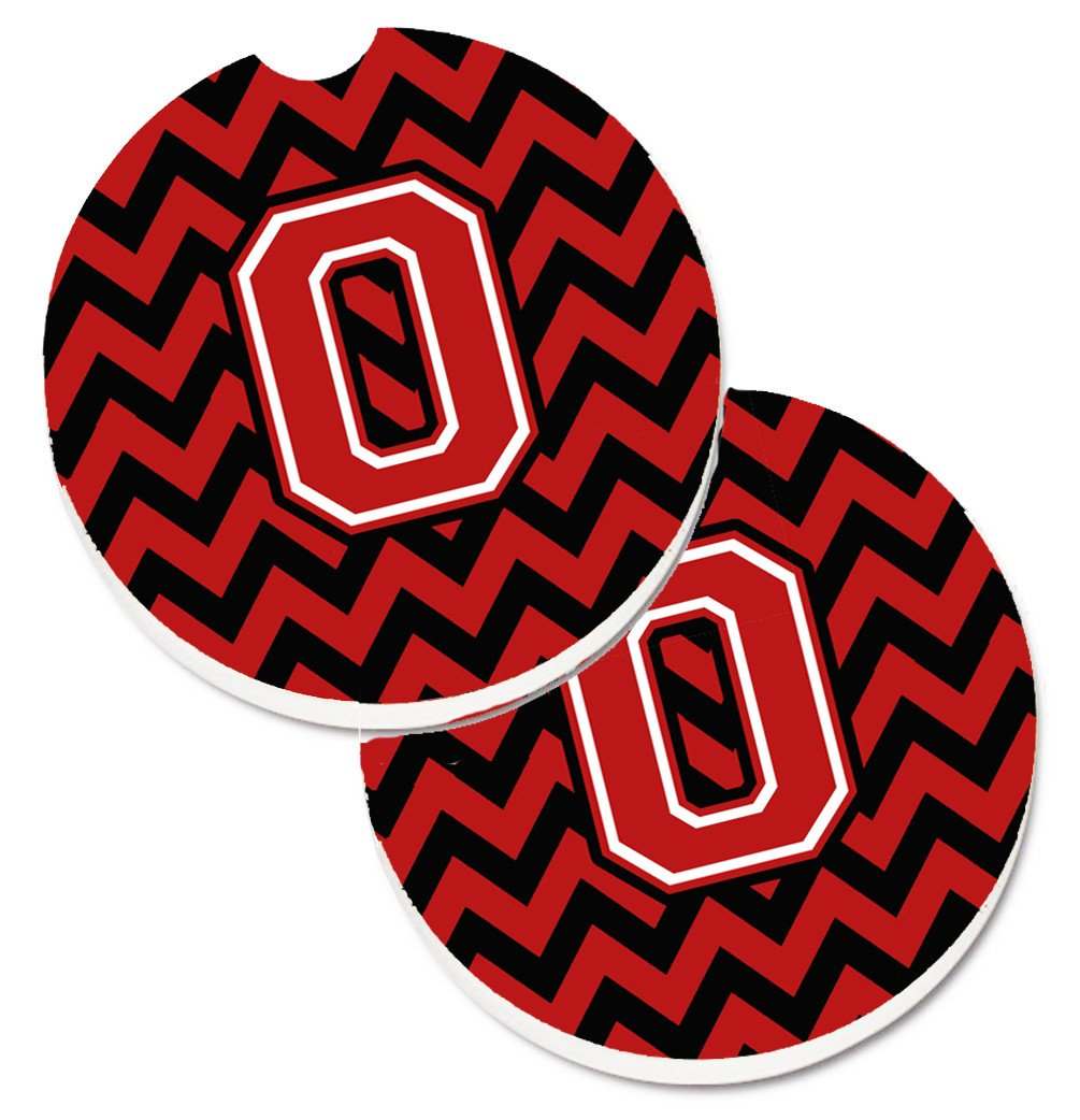 Letter O Chevron Black and Red   Set of 2 Cup Holder Car Coasters CJ1047-OCARC by Caroline's Treasures
