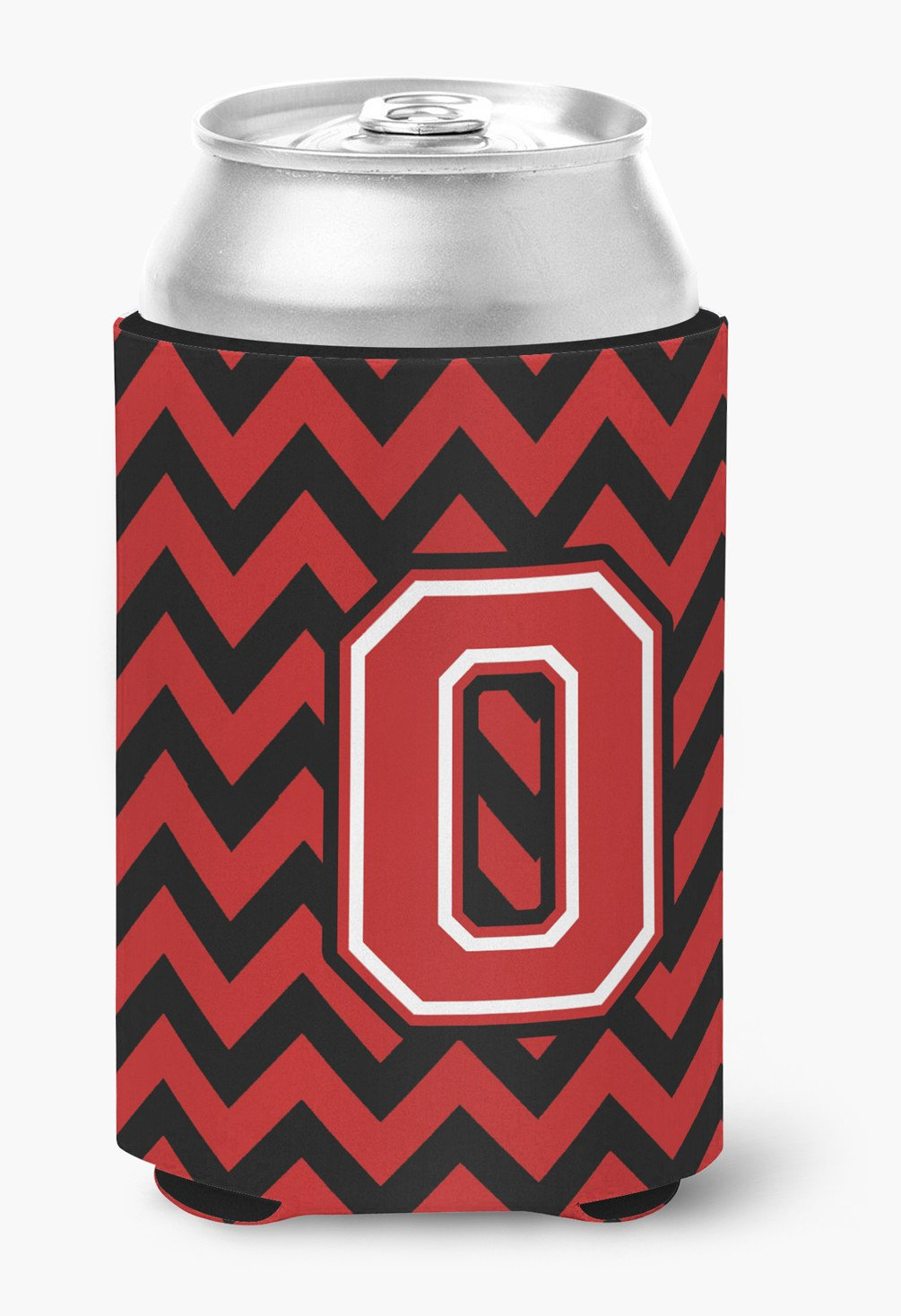 Letter O Chevron Black and Red   Can or Bottle Hugger CJ1047-OCC by Caroline's Treasures
