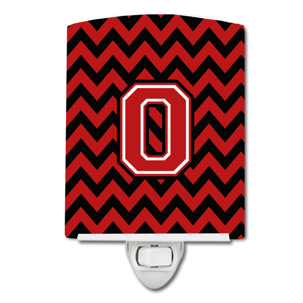 Letter O Chevron Black and Red   Ceramic Night Light CJ1047-OCNL by Caroline's Treasures