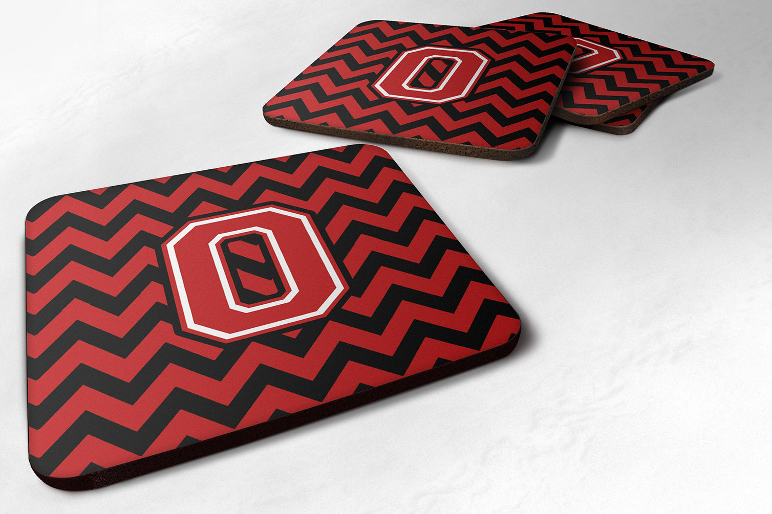 Letter O Chevron Black and Red   Foam Coaster Set of 4 CJ1047-OFC by Caroline's Treasures