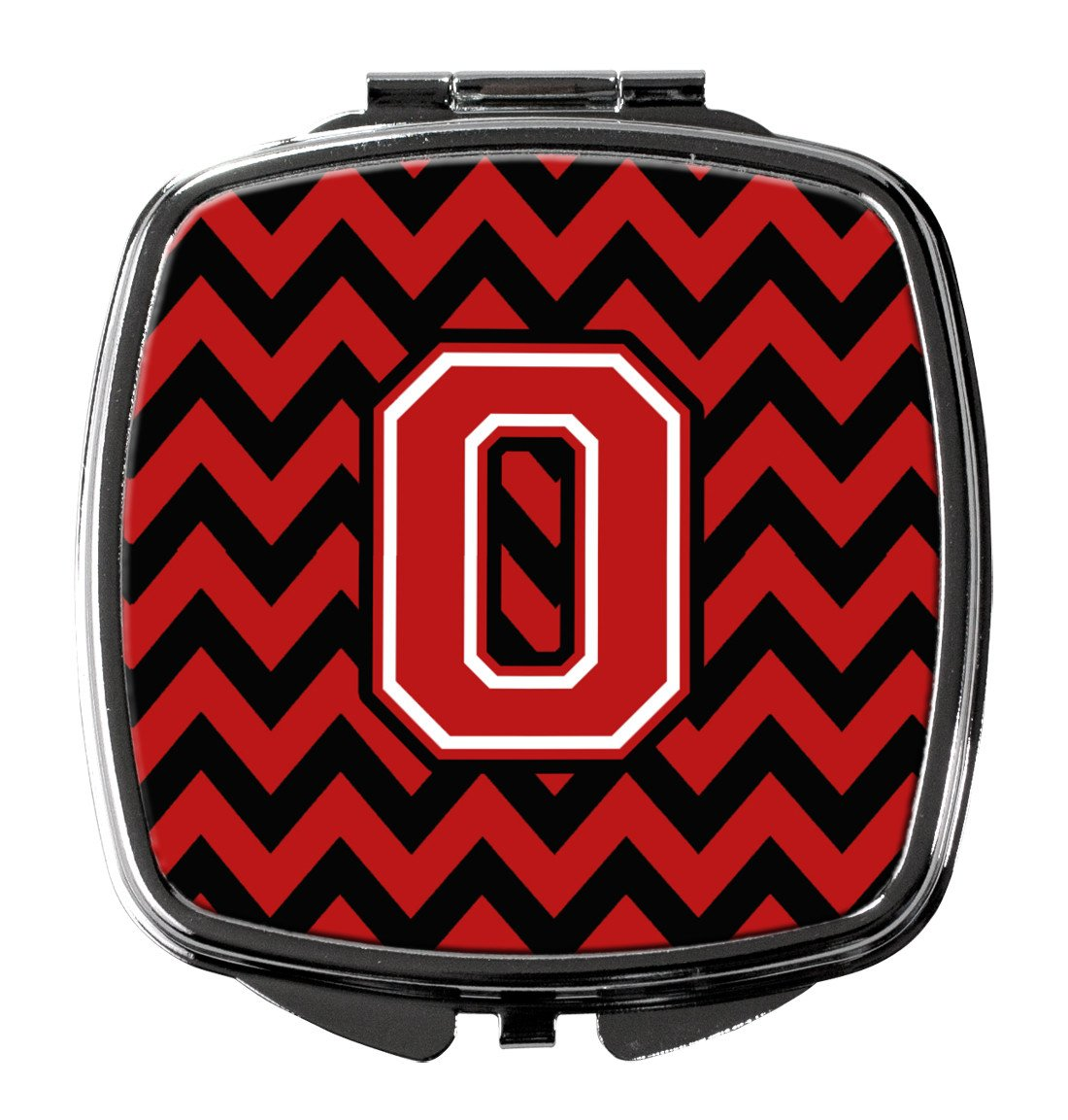Letter O Chevron Black and Red   Compact Mirror CJ1047-OSCM by Caroline's Treasures