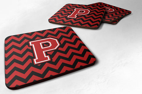 Buy this Letter P Chevron Black and Red   Foam Coaster Set of 4 CJ1047-PFC