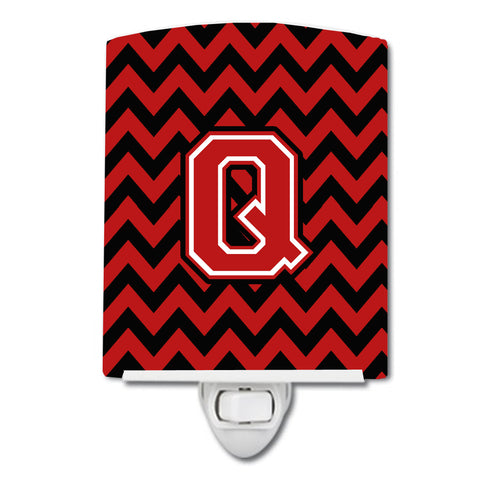 Buy this Letter Q Chevron Black and Red   Ceramic Night Light CJ1047-QCNL
