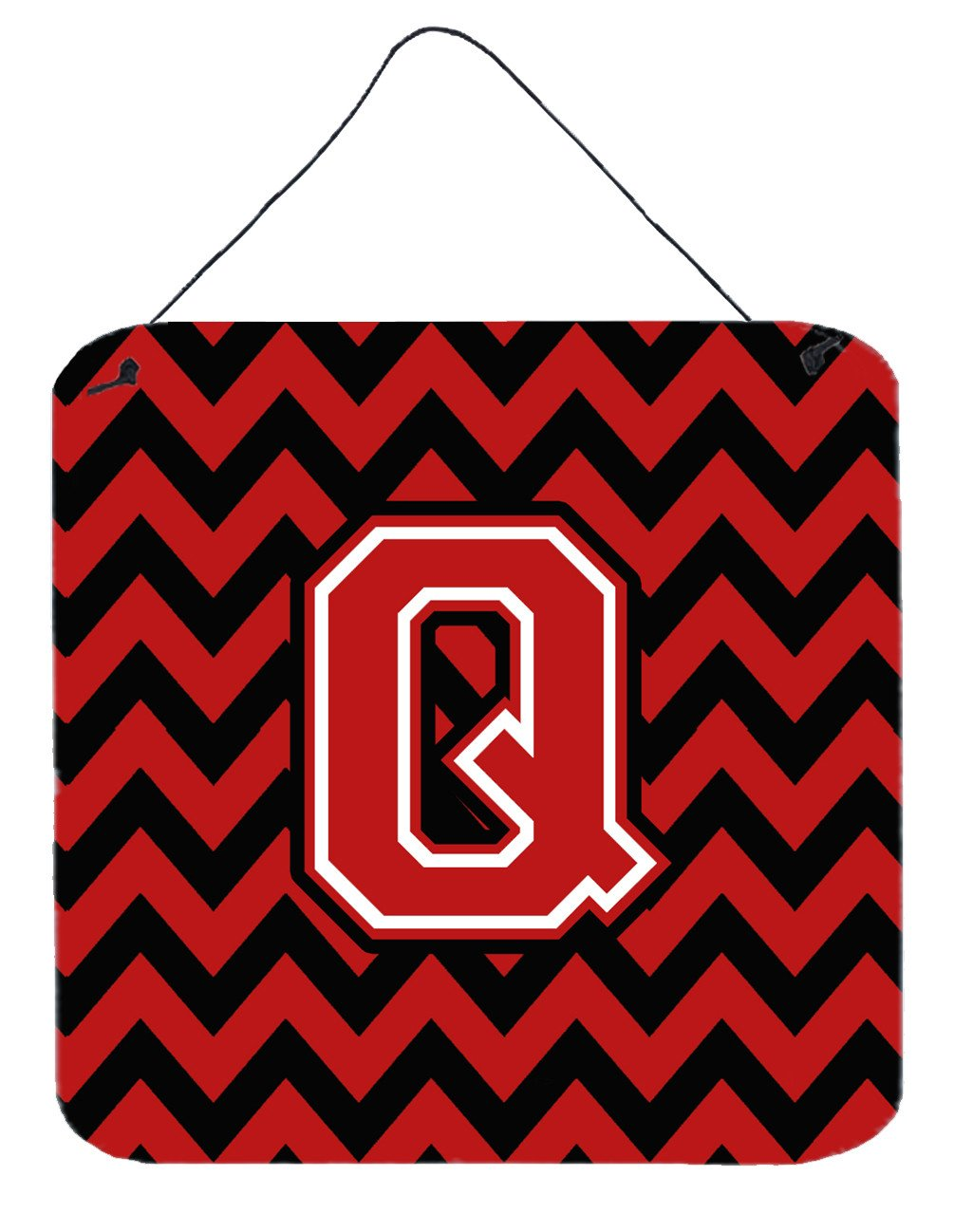 Letter Q Chevron Black and Red   Wall or Door Hanging Prints CJ1047-QDS66 by Caroline's Treasures