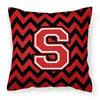 Letter S Chevron Black and Red   Fabric Decorative Pillow CJ1047-SPW1414 by Caroline's Treasures
