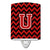Buy this Letter U Chevron Black and Red   Ceramic Night Light CJ1047-UCNL