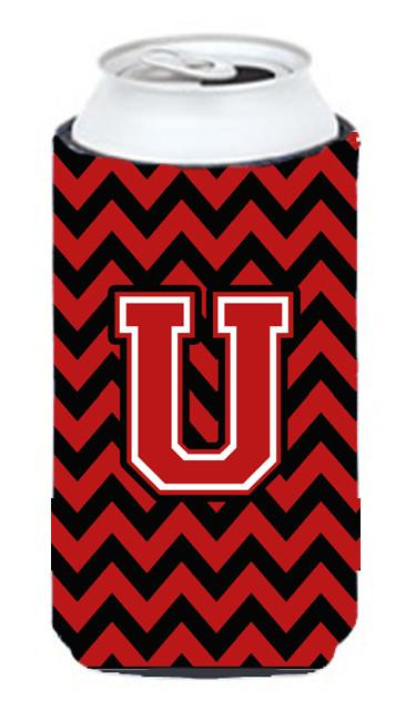Buy this Letter U Chevron Black and Red   Tall Boy Beverage Insulator Hugger CJ1047-UTBC