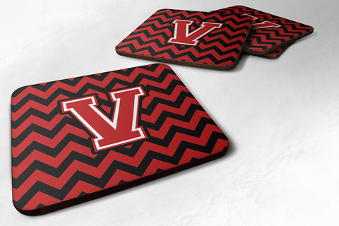 Buy this Letter V Chevron Black and Red   Foam Coaster Set of 4 CJ1047-VFC