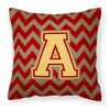 Letter A Chevron Garnet and Gold  Fabric Decorative Pillow CJ1048-APW1414 by Caroline's Treasures