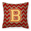Letter B Chevron Garnet and Gold  Fabric Decorative Pillow CJ1048-BPW1414 by Caroline's Treasures