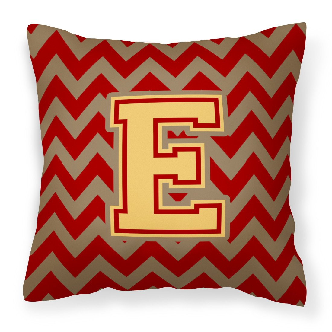 Letter E Chevron Garnet and Gold  Fabric Decorative Pillow CJ1048-EPW1414 by Caroline's Treasures