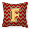 Letter F Chevron Garnet and Gold  Fabric Decorative Pillow CJ1048-FPW1414 by Caroline's Treasures