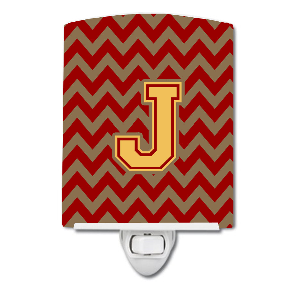 Letter J Chevron Garnet and Gold  Ceramic Night Light CJ1048-JCNL by Caroline's Treasures