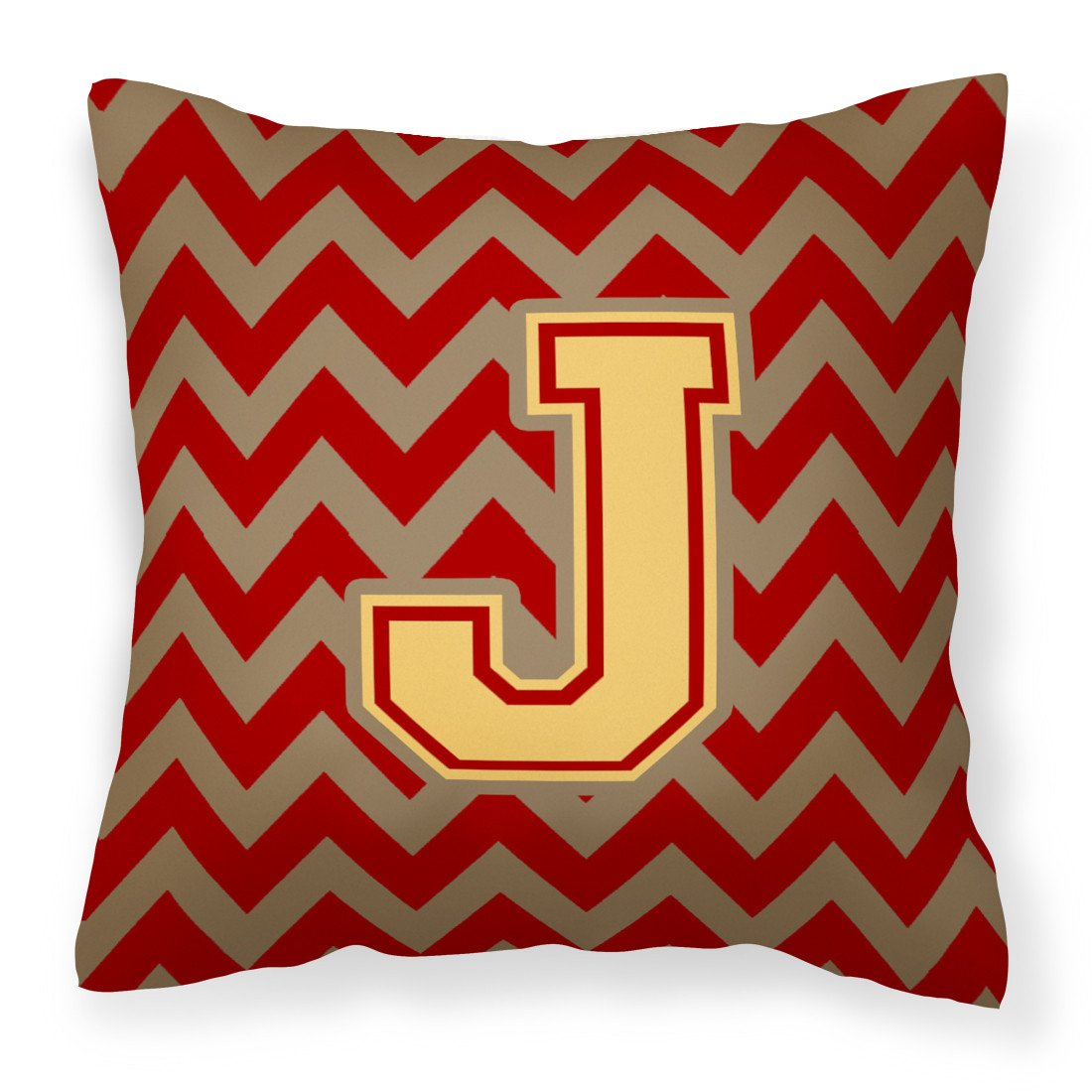 Letter J Chevron Garnet and Gold  Fabric Decorative Pillow CJ1048-JPW1414 by Caroline's Treasures