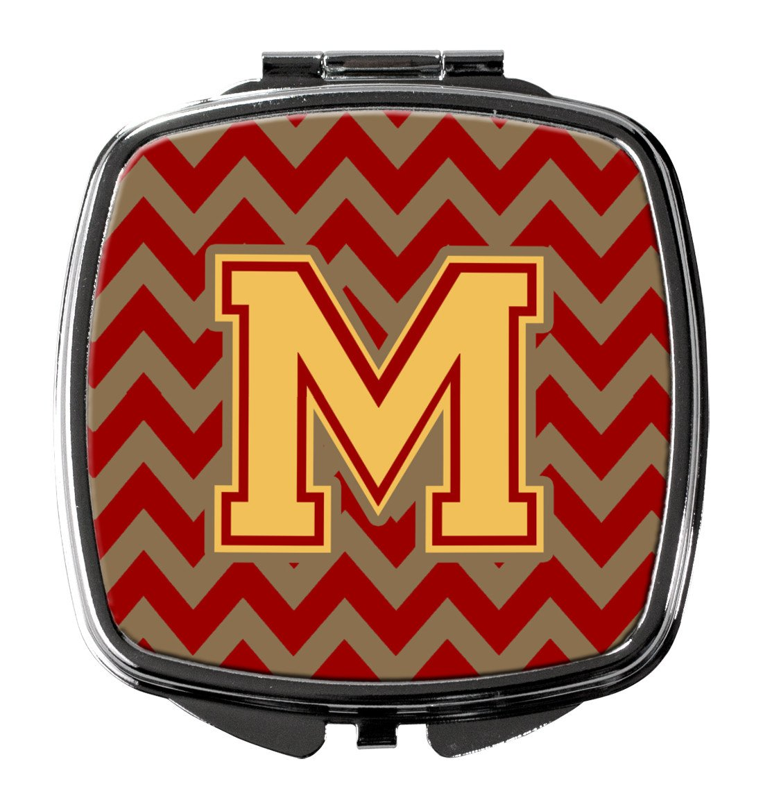 Letter M Chevron Garnet and Gold  Compact Mirror CJ1048-MSCM by Caroline's Treasures
