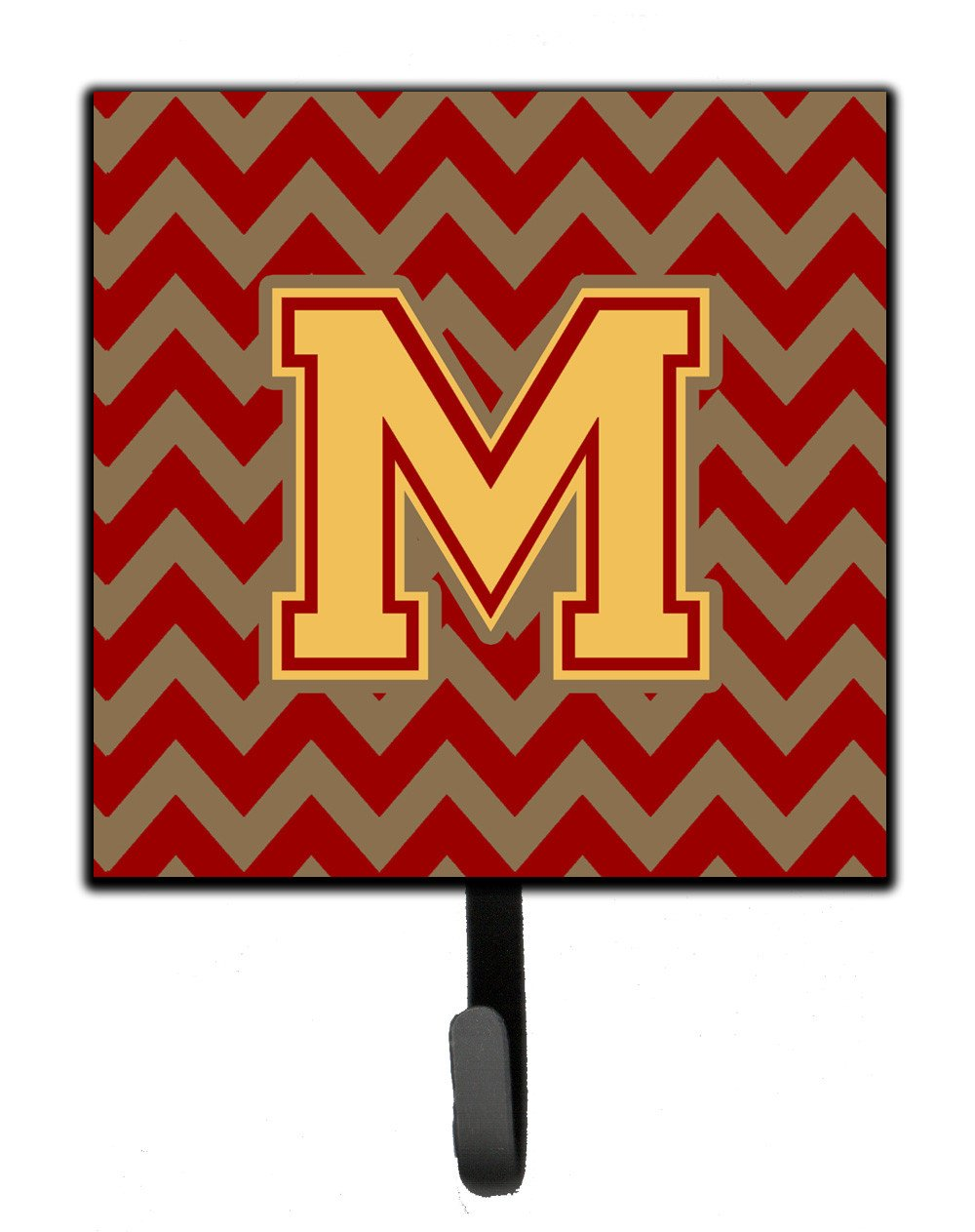 Letter M Chevron Garnet and Gold  Leash or Key Holder CJ1048-MSH4 by Caroline's Treasures