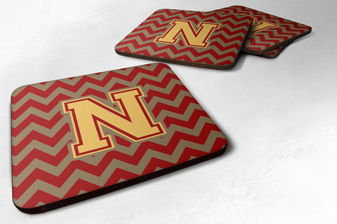 Buy this Letter N Chevron Garnet and Gold  Foam Coaster Set of 4 CJ1048-NFC