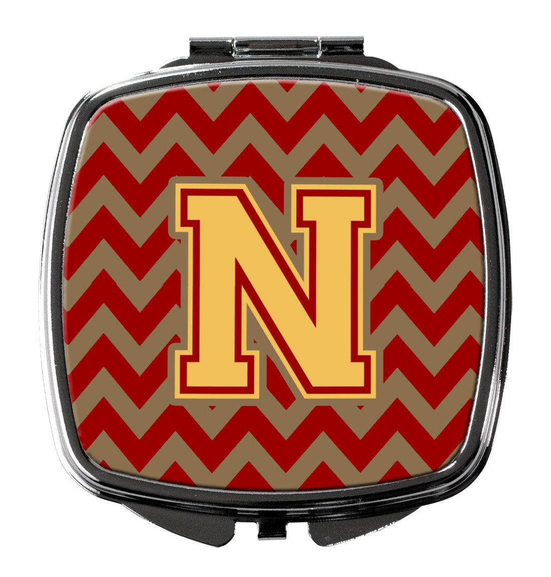 Letter N Chevron Garnet and Gold  Compact Mirror CJ1048-NSCM by Caroline's Treasures