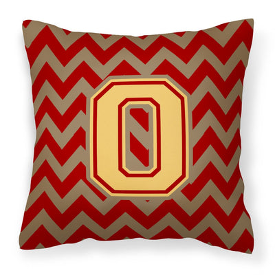Buy this Letter O Chevron Garnet and Gold  Fabric Decorative Pillow CJ1048-OPW1414