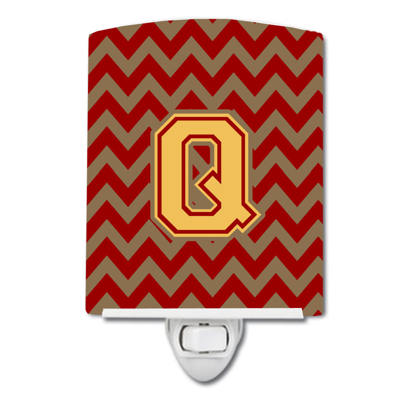 Buy this Letter Q Chevron Garnet and Gold  Ceramic Night Light CJ1048-QCNL